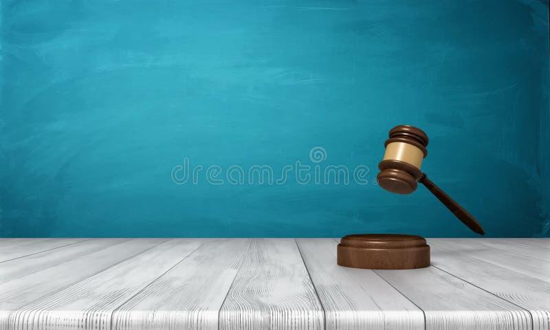 τρισδιάστατη απόδοση καφετί ξύλινο gavel δικαστών και υγιούς ενός φραγμού που βρίσκονται σε έναν ξύλινο πίνακα στο μπλε κλίμα ελεύθερη απεικόνιση δικαιώματος