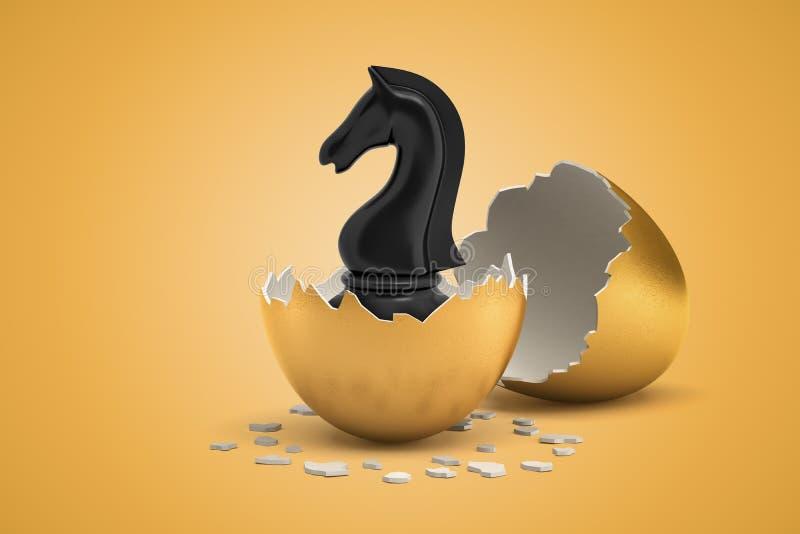 τρισδιάστατη απόδοση κινηματογραφήσεων σε πρώτο πλάνο του μαύρου αλόγου chesspiece ότι ακριβώς εκκολαμμένος έξω από το χρυσό αυγό στοκ εικόνα με δικαίωμα ελεύθερης χρήσης