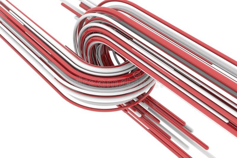 τρισδιάστατη απόδοση, κόκκινο και άσπρο αφηρημένο στρογγυλό υπόβαθρο μορφών Ζωηρόχρωμο σκηνικό στοκ φωτογραφία