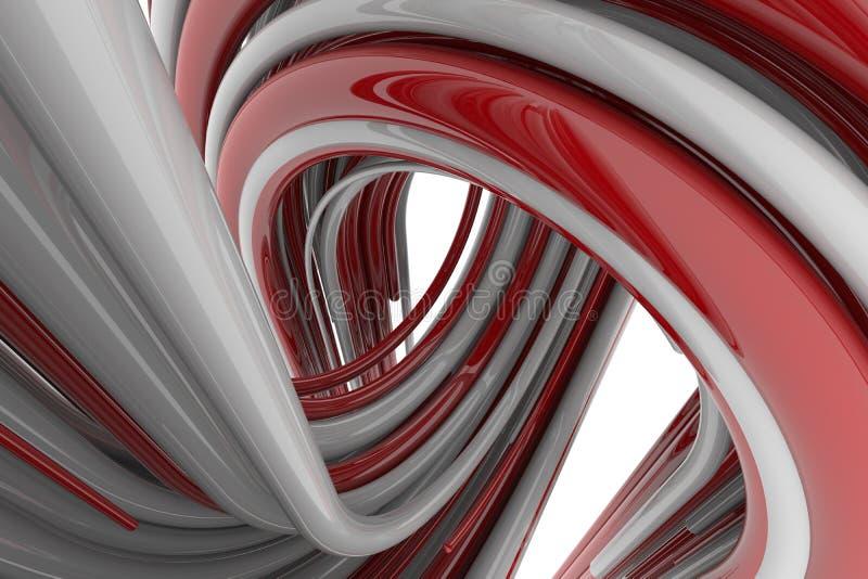 τρισδιάστατη απόδοση, κόκκινο και άσπρο αφηρημένο στρογγυλό υπόβαθρο μορφών Ζωηρόχρωμο σκηνικό στοκ φωτογραφίες