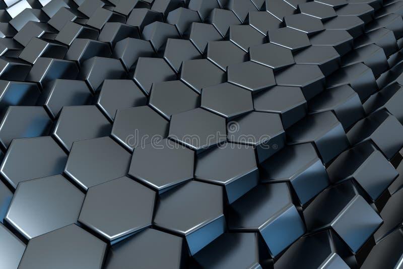 τρισδιάστατη απόδοση, μαύρος hexagon κύβος, ψηφιακό σχέδιο υπολογιστών διανυσματική απεικόνιση