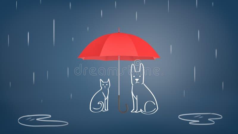 τρισδιάστατη απόδοση μιας ανοικτής κόκκινης ομπρέλας που καλύπτει συρμένα την κιμωλία γάτα και το σκυλί από τη βροχή σε ένα μπλε  απεικόνιση αποθεμάτων