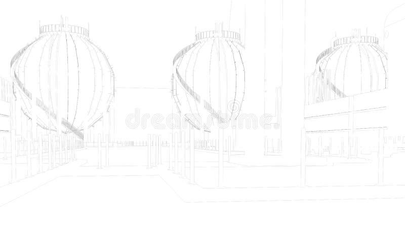 τρισδιάστατη απόδοση μιας βιομηχανικής πόλης σχεδιαγραμμάτων με το λεπτομερές αντικείμενο ελεύθερη απεικόνιση δικαιώματος
