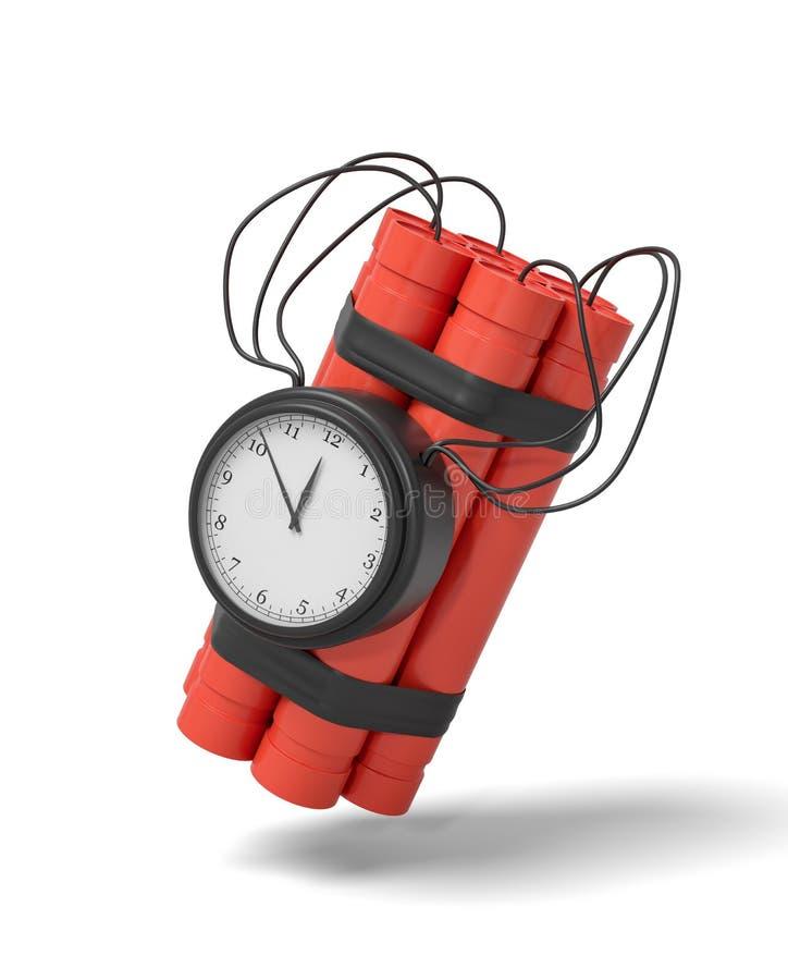τρισδιάστατη απόδοση μιας δέσμης των ραβδιών δυναμίτη με ένα ρολόι που συνδέεται με την πλευρά από το σε ένα άσπρο υπόβαθρο απεικόνιση αποθεμάτων