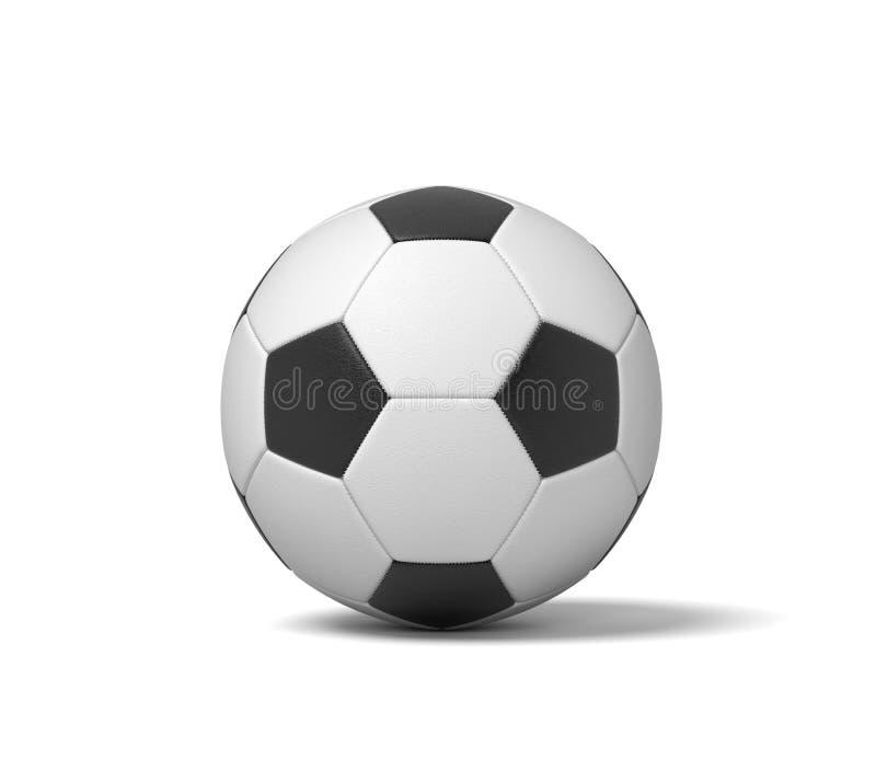 τρισδιάστατη απόδοση μιας ενιαίας γραπτής σφαίρας δέρματος για το παιχνίδι του ποδοσφαίρου ή του ποδοσφαίρου στοκ εικόνες με δικαίωμα ελεύθερης χρήσης