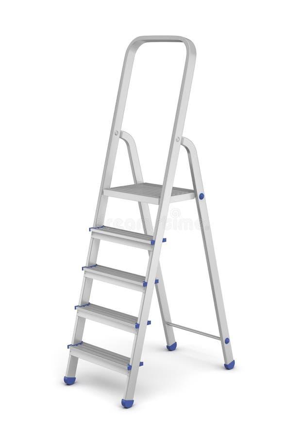 τρισδιάστατη απόδοση μιας ενιαίας σκάλας βημάτων οικοδόμων ` s μετάλλων με τις μπλε συναρμολογήσεις που απομονώνονται στο άσπρο υ στοκ εικόνες με δικαίωμα ελεύθερης χρήσης