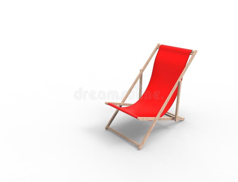 τρισδιάστατη απόδοση μιας καρέκλας παραλιών που απομονώνεται στο υπόβαθρο στούντιο ελεύθερη απεικόνιση δικαιώματος