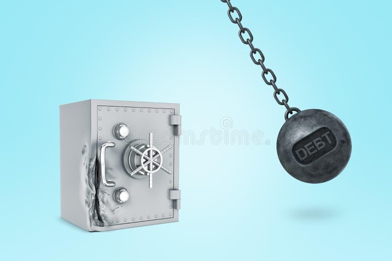 τρισδιάστατη απόδοση μιας σφαίρας κατεδάφισης με το χρέος τίτλου σε το που χτυπά ανοικτό γκρι strongbox μετάλλων που είναι ήδη στοκ εικόνα