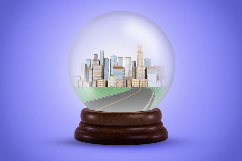 τρισδιάστατη απόδοση μιας σφαίρας κρυστάλλου με έναν δρόμο που οδηγεί σε μια πόλη σε το ελεύθερη απεικόνιση δικαιώματος