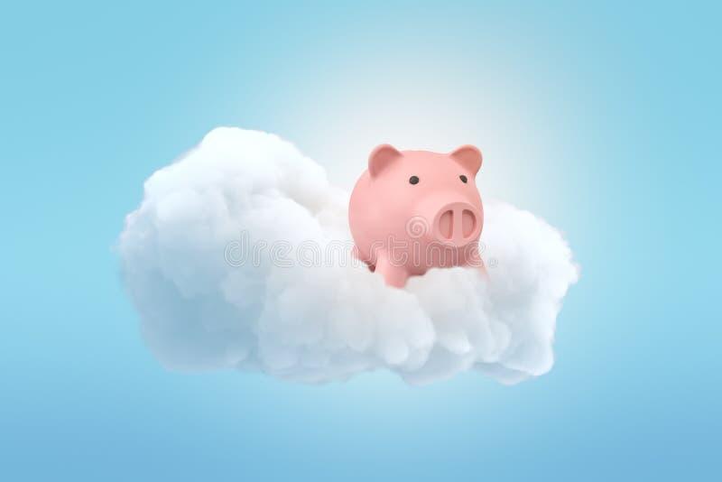 τρισδιάστατη απόδοση μιας χαριτωμένης ρόδινης piggy τράπεζας σε ένα χνουδωτό άσπρο σύννεφο στο μπλε ουρανό διανυσματική απεικόνιση