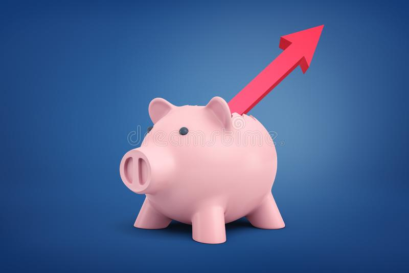 τρισδιάστατη απόδοση μιας piggy τράπεζας με μια κόκκινη ανάπτυξη βελών από την πλάτη του και την υπόδειξη επάνω σε ένα μπλε υπόβα ελεύθερη απεικόνιση δικαιώματος