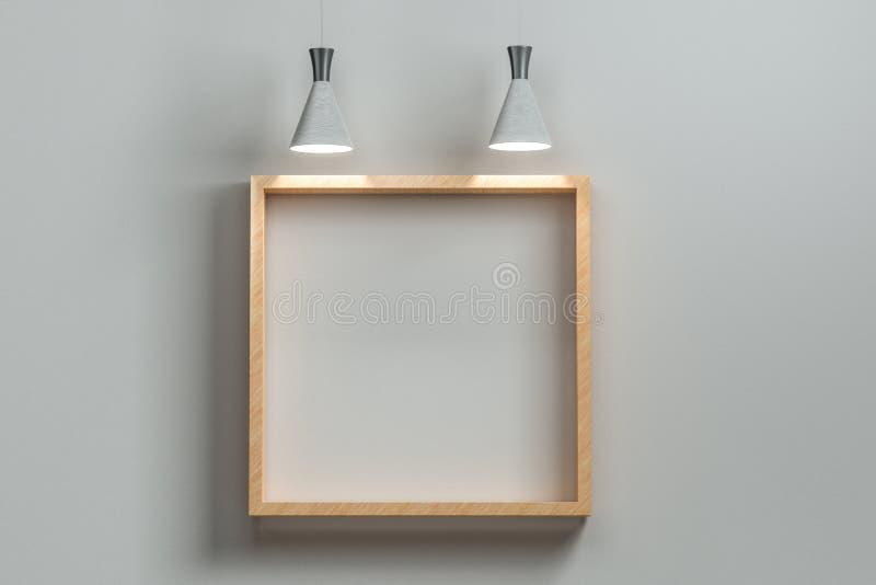 τρισδιάστατη απόδοση, ο τοίχος έκθεσης με το έξοχο τοπ φως ελεύθερη απεικόνιση δικαιώματος