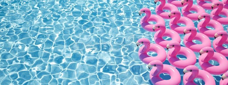 τρισδιάστατη απόδοση πολλά επιπλέοντα σώματα φλαμίγκο σε μια λίμνη ελεύθερη απεικόνιση δικαιώματος