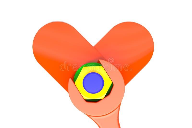 τρισδιάστατη απόδοση που κάνει ένα καρδιά-διαμορφωμένο αντικείμενο ελεύθερη απεικόνιση δικαιώματος