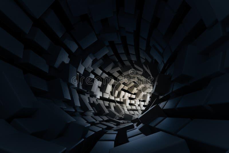 τρισδιάστατη απόδοση, σκοτεινή σήραγγα επιστήμη-μυθιστοριογραφίας, σκοτεινό υπόβαθρο στοκ εικόνα