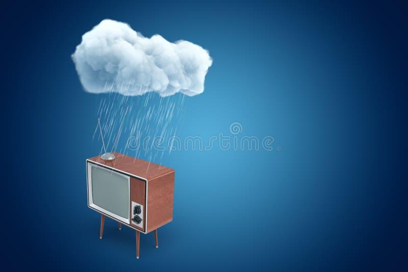 τρισδιάστατη απόδοση της αναδρομικής συσκευής τηλεόρασης που στέκεται κάτω από το βρέχοντας σύννεφο στο μπλε υπόβαθρο κλίσης με τ ελεύθερη απεικόνιση δικαιώματος