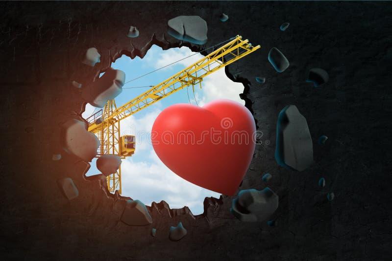 τρισδιάστατη απόδοση της ανύψωσης του γερανού που φέρνει τη χαριτωμένη κόκκινη καρδιά και που σπάζει μαύρο τον τοίχο που αφήνει τ στοκ φωτογραφία