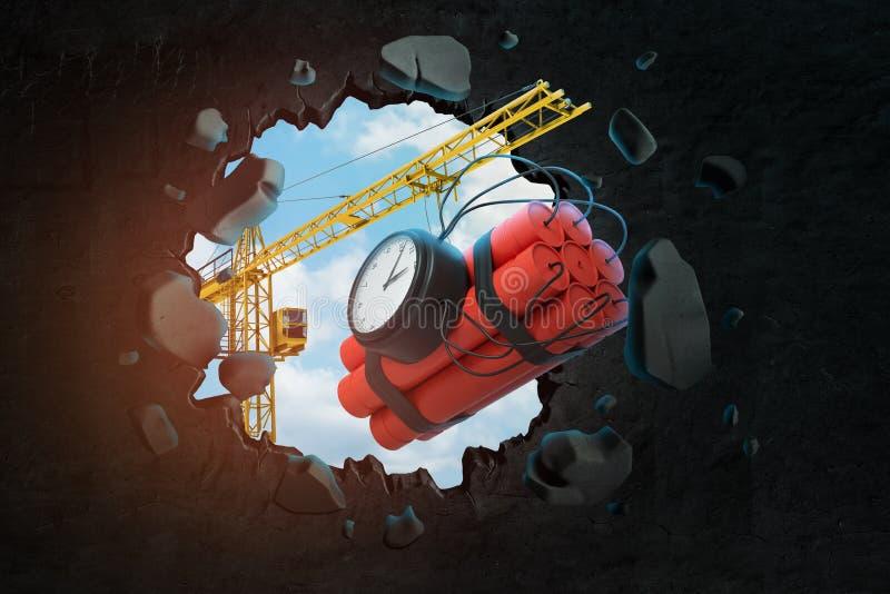 τρισδιάστατη απόδοση της ανύψωσης της φέρνοντας δέσμης δυναμίτη γερανών με τη ορολογιακή βόμβα και του σπασίματος του τοίχου που  ελεύθερη απεικόνιση δικαιώματος