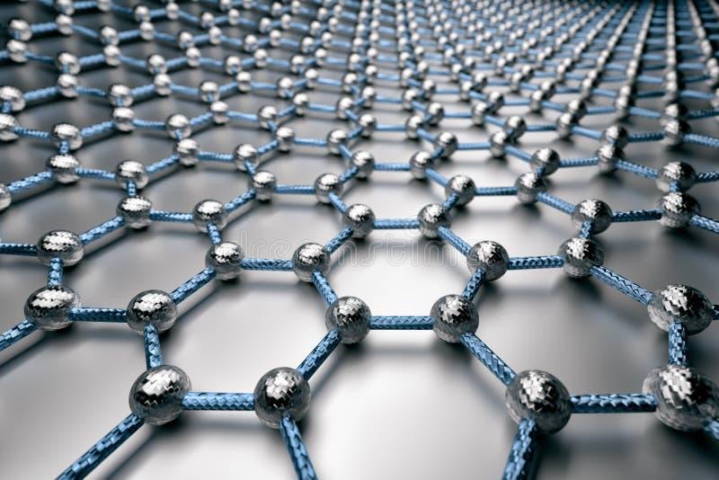 τρισδιάστατη απόδοση της επιφάνειας graphene, των γκρίζων ατόμων και των μπλε δεσμών με τη δομή άνθρακα διανυσματική απεικόνιση