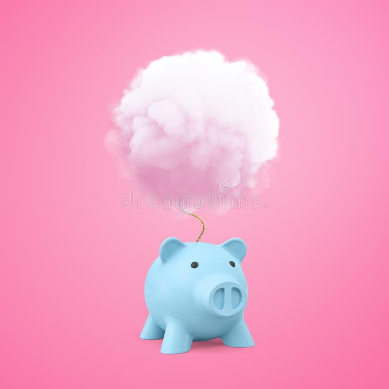 τρισδιάστατη απόδοση της μπλε piggy τράπεζας με το άσπρο σύννεφο καπνού ανωτέρω στο ρόδινο υπόβαθρο διανυσματική απεικόνιση