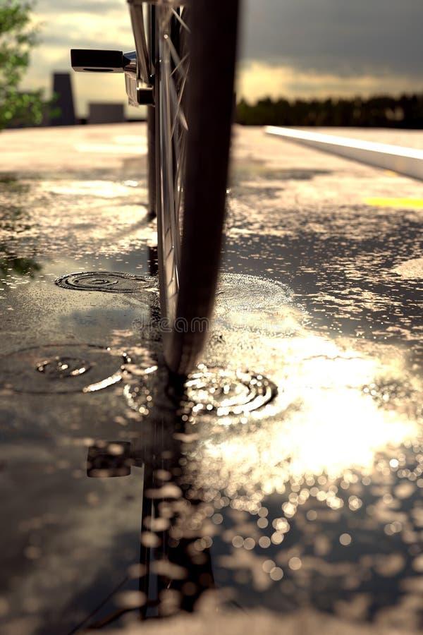 τρισδιάστατη απόδοση της ρόδας ποδηλάτων που στέκεται στη λακκούβα μπροστά από τη θαμπάδα στοκ φωτογραφίες