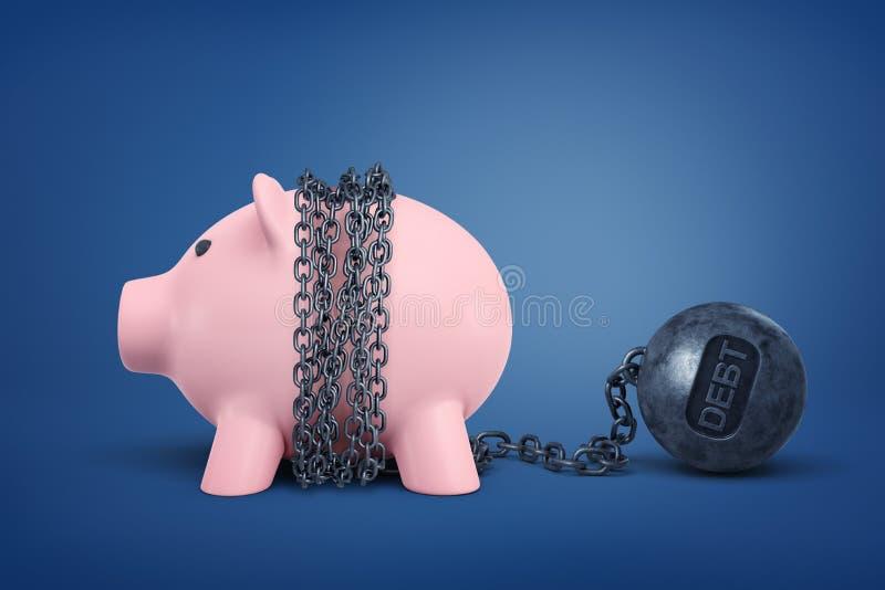 τρισδιάστατη απόδοση της piggy τράπεζας που αλυσοδένεται με τη σφαίρα ΧΡΕΟΥΣ μετάλλων στο μπλε υπόβαθρο στοκ φωτογραφία με δικαίωμα ελεύθερης χρήσης