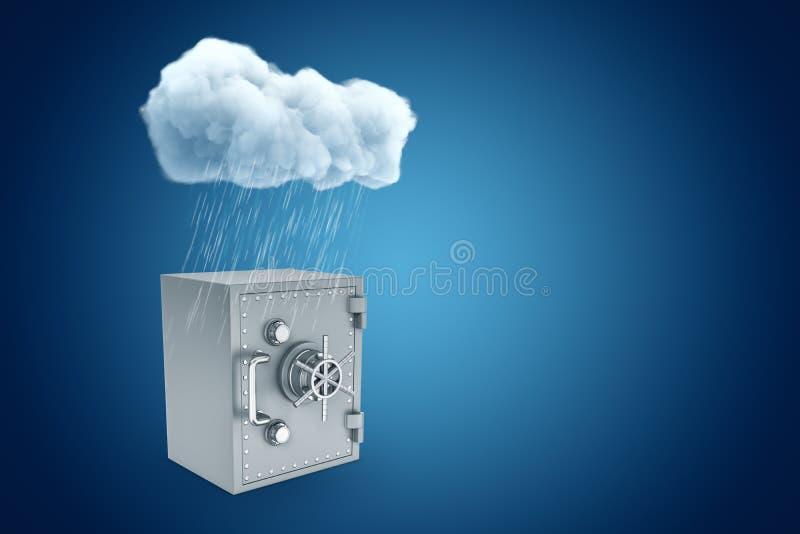 τρισδιάστατη απόδοση του άσπρου βροχερού σύννεφου επάνω από το γκρίζο χρηματοκιβώτιο τραπεζών μετάλλων στο μπλε υπόβαθρο απεικόνιση αποθεμάτων