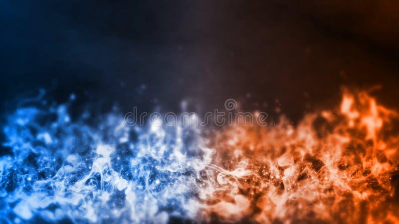 τρισδιάστατη απόδοση του αφηρημένου στοιχείου πυρκαγιάς και πάγου ενάντια το ένα εναντίον του άλλου υπόβαθρο Θερμότητα και κρύα έ στοκ εικόνες