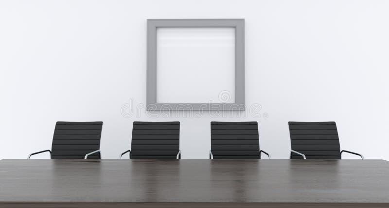 τρισδιάστατη απόδοση του γραφείου με τους προσροφητικούς άνθρακες και του κενού πίνακα με κενό pos διανυσματική απεικόνιση