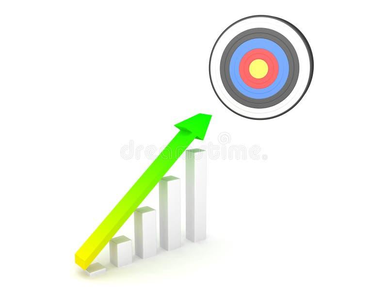 τρισδιάστατη απόδοση του διαγράμματος αύξησης με το στόχο στην κορυφή διανυσματική απεικόνιση