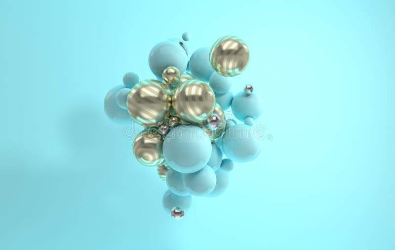 τρισδιάστατη απόδοση του επιπλέοντος γυαλισμένου μπλε και λάμποντας ριγωτού golde στοκ φωτογραφία