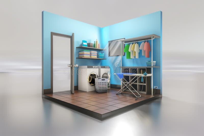 τρισδιάστατη απόδοση του εσωτερικού σχεδίου δωματίων πλυντηρίων με το πλυντήριο με το σιδέρωμα του πίνακα σε ένα λευκό αντανακλασ απεικόνιση αποθεμάτων