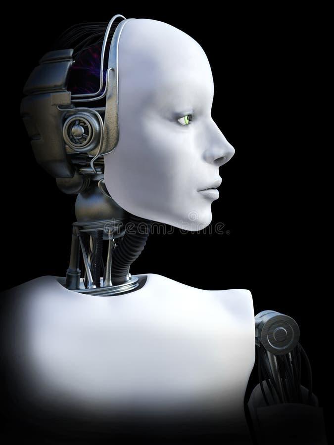 τρισδιάστατη απόδοση του θηλυκού κεφαλιού ρομπότ ελεύθερη απεικόνιση δικαιώματος