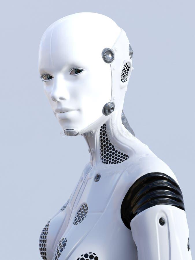 τρισδιάστατη απόδοση του θηλυκού προσώπου ρομπότ ελεύθερη απεικόνιση δικαιώματος