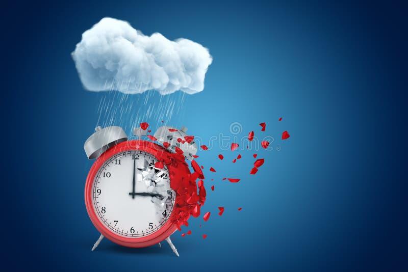 τρισδιάστατη απόδοση του κόκκινου ξυπνητηριού που στέκεται κάτω από το βρέχοντας σύννεφο και που διαλύει στα μόρια σε μια πλευρά, ελεύθερη απεικόνιση δικαιώματος