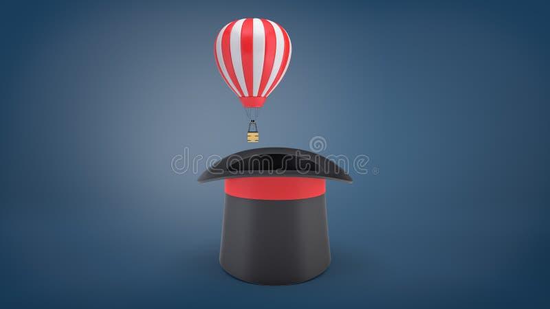 τρισδιάστατη απόδοση του μικρού κόκκινου και εκτυφλωτικού μπαλονιού αέρα που πετά από ένα μεγάλο μαύρο καπέλο θαυματοποιών ` s στοκ εικόνα