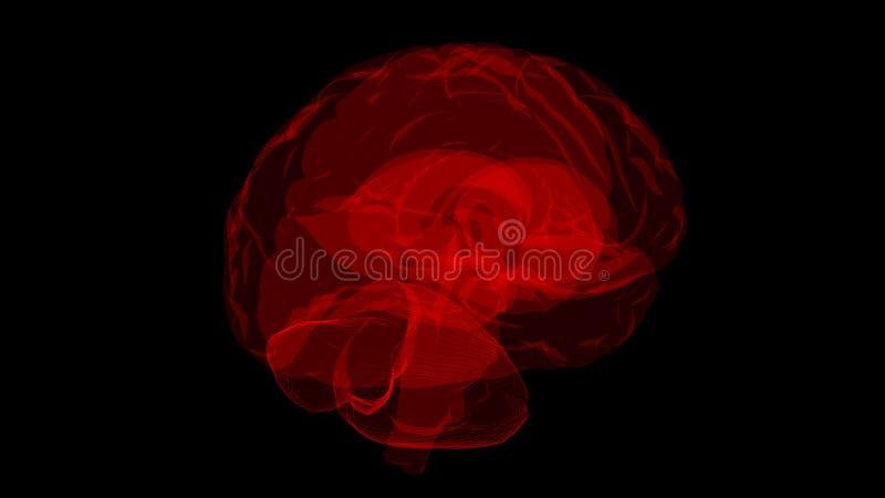 τρισδιάστατη απόδοση του μοντέλου υπολογιστή της έννοιας ανθρώπινου εγκεφάλου και τεχνητής νοημοσύνης ελεύθερη απεικόνιση δικαιώματος