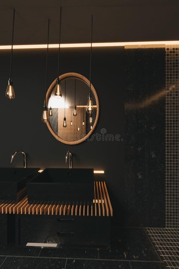 τρισδιάστατη απόδοση του πολύτιμου μαύρου λουτρού με τον ξύλινο καθρέφτη και φωτισμένος lightbulbs απεικόνιση αποθεμάτων