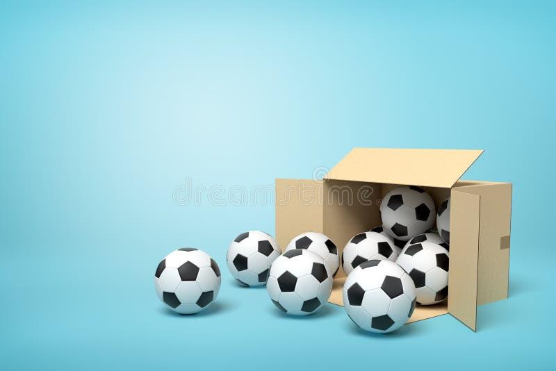 τρισδιάστατη απόδοση του συνόλου κουτιών από χαρτόνι των ποδοσφαίρων στο μπλε υπόβαθρο απεικόνιση αποθεμάτων