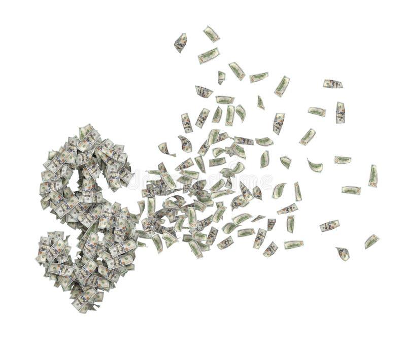 τρισδιάστατη απόδοση του σωρού των δολαρίων στον αέρα που ρυθμίζει εκ νέου στη μορφή του μεγάλου συμβόλου δολαρίων που απομονώνετ διανυσματική απεικόνιση