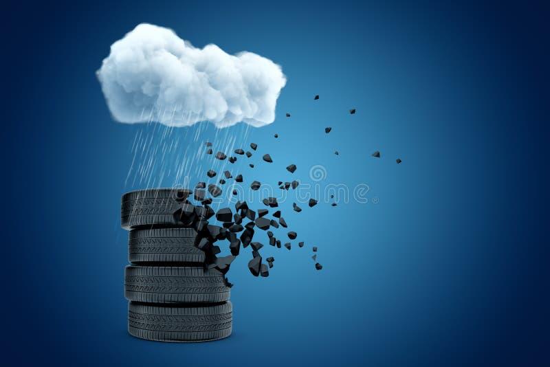 τρισδιάστατη απόδοση του σωρού των ελαστικών αυτοκινήτου που στέκονται κάτω από το άσπρο βρέχοντας σύννεφο στο μπλε υπόβαθρο copy ελεύθερη απεικόνιση δικαιώματος