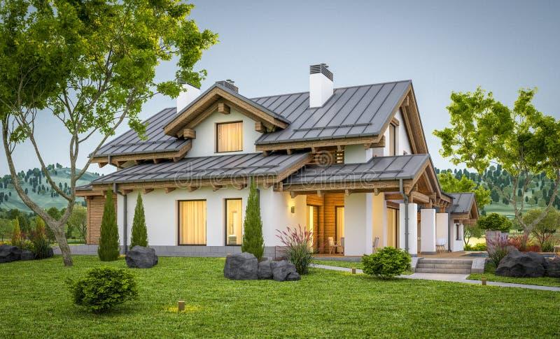 τρισδιάστατη απόδοση του σύγχρονου άνετου σπιτιού στο ύφος σαλέ στοκ φωτογραφίες