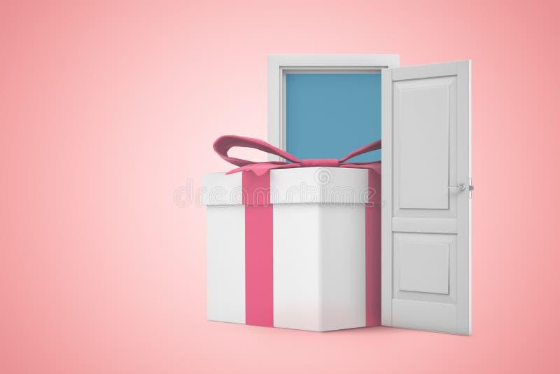 τρισδιάστατη απόδοση του τεράστιου άσπρου giftbox που στέκεται στην ανοικτή πόρτα στο ρόδινο υπόβαθρο κλίσης copyspace ελεύθερη απεικόνιση δικαιώματος