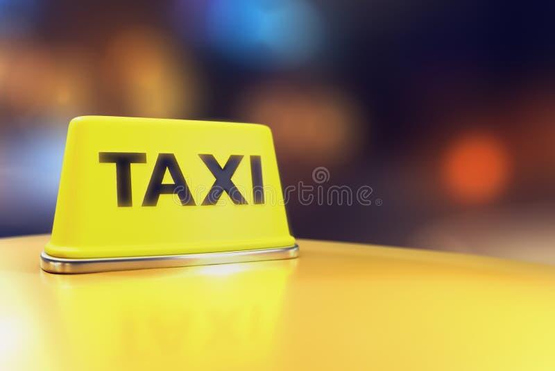 τρισδιάστατη απόδοση του φωτεινού σημαδιού ταξί νέου ανοικτό κίτρινο στη στέγη απεικόνιση αποθεμάτων