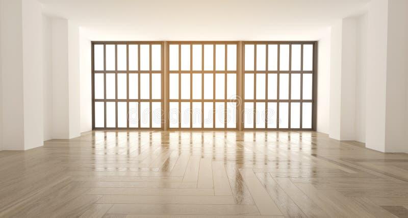 τρισδιάστατη απόδοση του wempty γραφείου με τα μεγάλα παράθυρα και το ξύλινο floo διανυσματική απεικόνιση