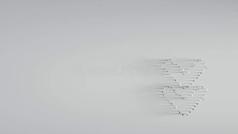 τρισδιάστατη απόδοση των διάφορων καρφιών μετάλλων στη μορφή της διπλής κάτω γωνίας ελεύθερη απεικόνιση δικαιώματος