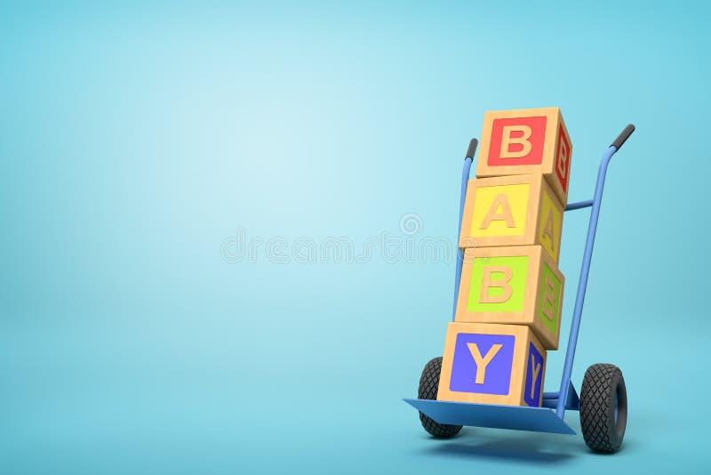 """τρισδιάστατη απόδοση των ζωηρόχρωμων φραγμών παιχνιδιών αλφάβητου που παρουσιάζουν σημάδι """"ΜΩΡΩΝ """"σε ένα φορτηγό χεριών στο μπλε  ελεύθερη απεικόνιση δικαιώματος"""