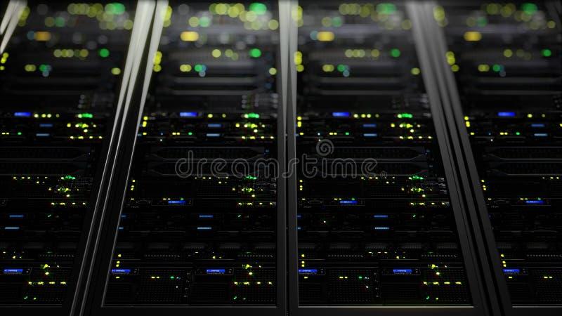 τρισδιάστατη απόδοση των κεντρικών υπολογιστών στοιχείων με τη λάμψη LEDs Κυκλική ζωτικότητα των κεντρικών υπολογιστών στοιχείων στοκ εικόνες
