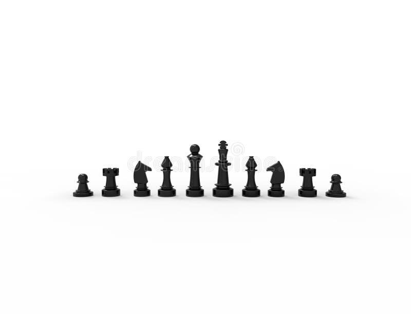 τρισδιάστατη απόδοση των μαύρων κομματιών σκακιού που απομονώνονται στο άσπρο υπόβαθρο διανυσματική απεικόνιση
