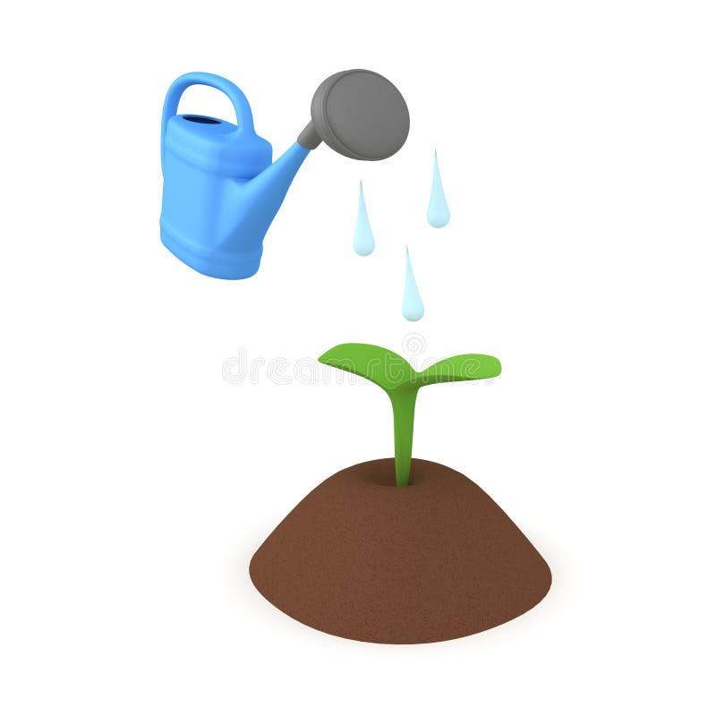τρισδιάστατη απόδοση των μικρών εγκαταστάσεων στο χώμα που παγιοποιείται διανυσματική απεικόνιση